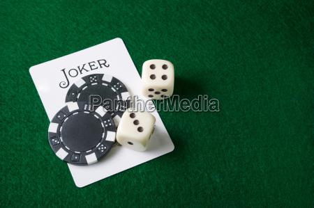 joker card and gambling chips and