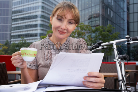 business woman working outside