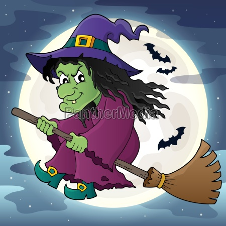witch on broom theme image 2