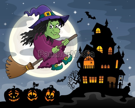 witch on broom theme image 3