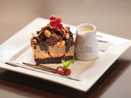 plate of chocolate dessert in restaurant