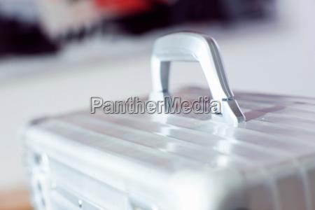 close up of aluminum case handle