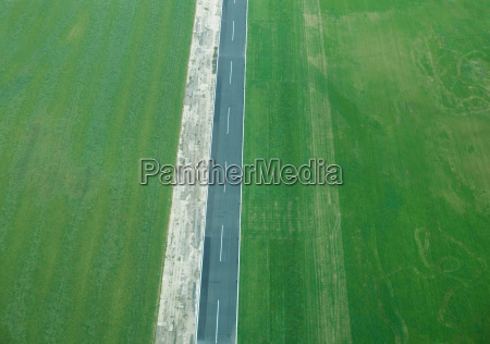 aerial view of rural fields and