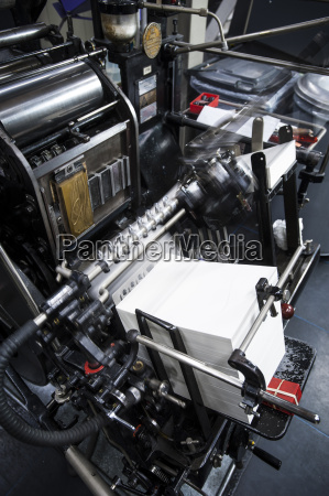 paper printing machine at work in