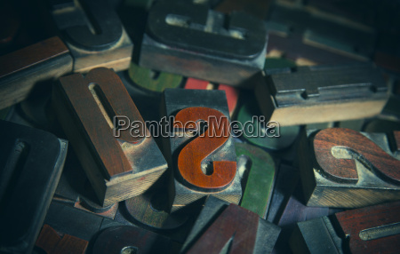 pile of letterpress letters close up