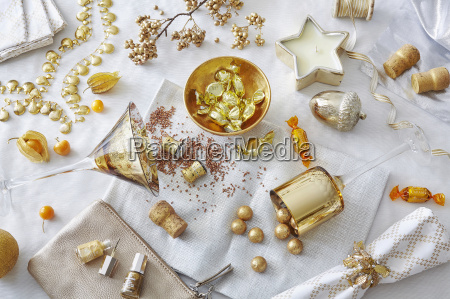 white and gold colored still life