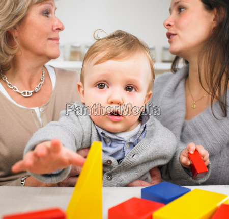 grandmother mother and baby boy