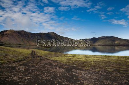 sky reflected in lake in rural