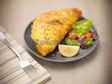 omelet with scottish smoked salmon salad