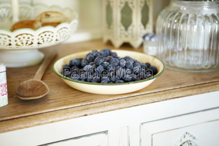 bowl of blueberries on kitchen counter