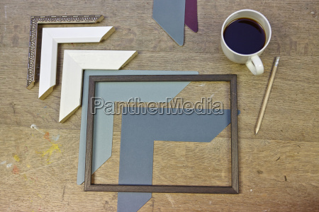 still life of frames and coffee