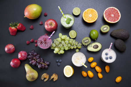 overhead still life of fresh fruit