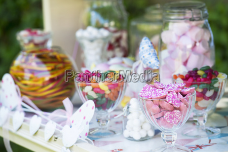 confectionery in glasses and jars close