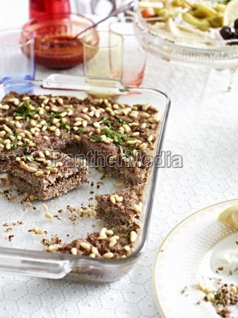 still life with dish of kibbeh