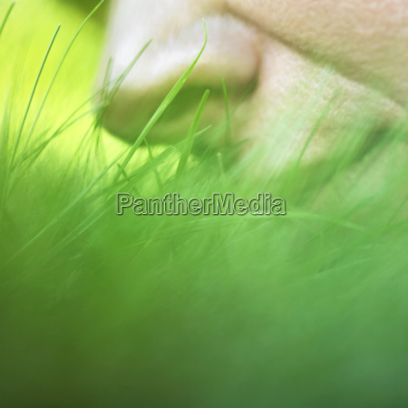 person smelling grass close up