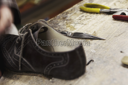 close up of leather brogue and