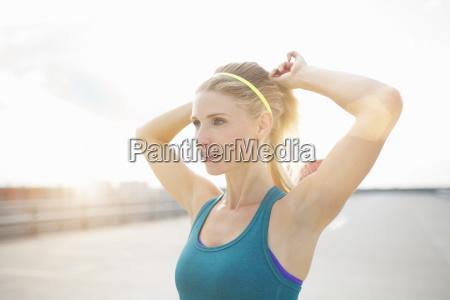mujer azul deporte deportes femenino retrato