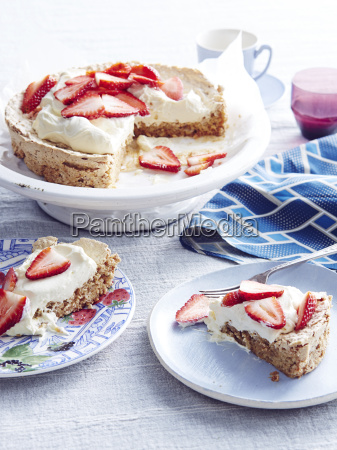 still life of strawberry meringue cake