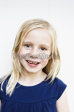 portrait of cute girl with toothy