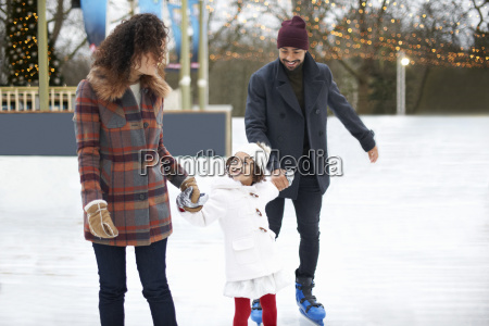 girl ice skating holding hands with