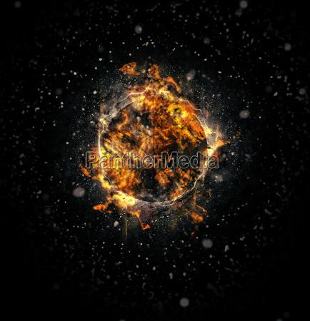 digitally generated image of exploding supernova