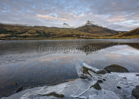landscape view of lake ice and