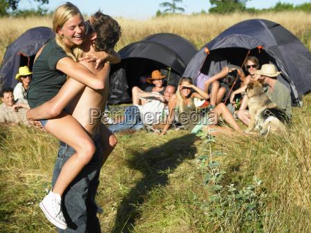 couple dancing backpacking tents