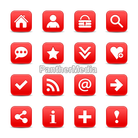 red satin icon web button with