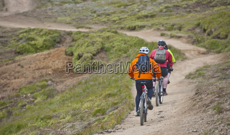 rear view of three mountain bikers