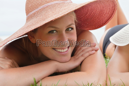 young woman in straw hat woman
