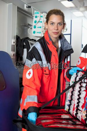 ambulance woman preparing happy