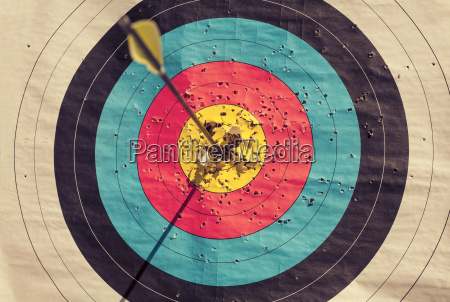 archery target with arrow in the