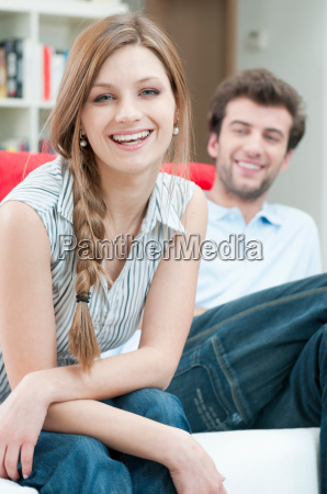 happy smiling young couple at home