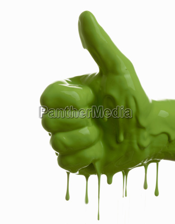 green painted hand making thumbs up