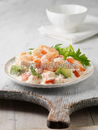 plate of prawns and avocado