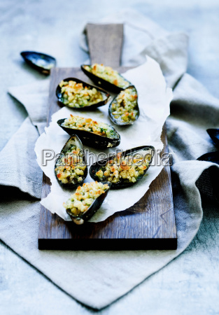 plate of baked mussels