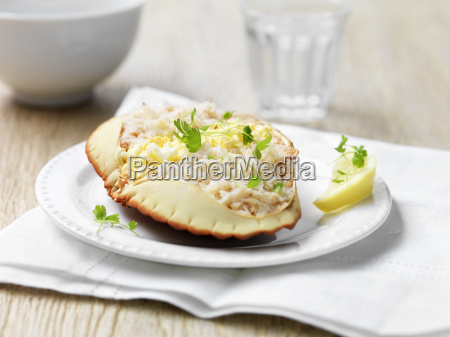 orkney crab in shell with herbs