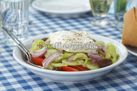 greek salad on table