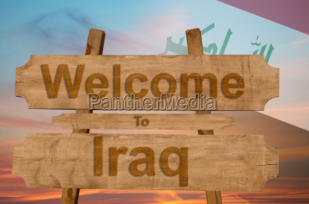 welcome to iraq sing on wood