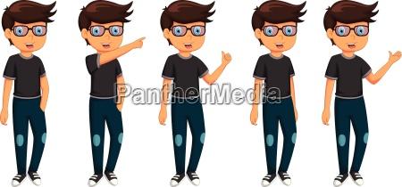 cute five man cartoon are standing
