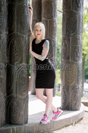 blonde young tattoo model