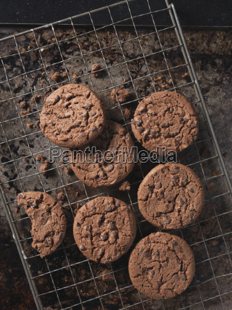 overhead view of double chocolate chip