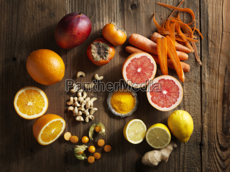 overhead view of orange fruit and
