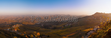 elevated panoramic landscape at sunset langhe