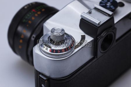 closeup of old retro film camera