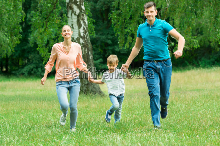 family running in the park