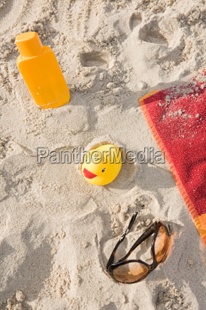 holiday items on a beach