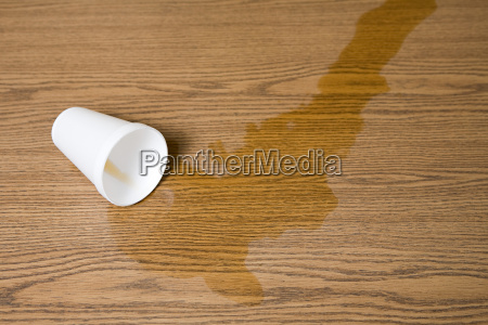 spilt cup of coffee