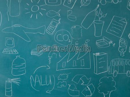 recycling illustrations on blackboard