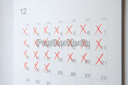 dates crossed of on a calendar